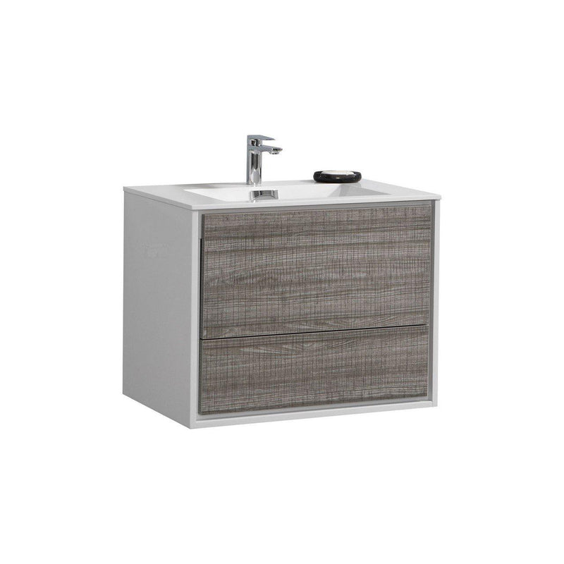 "KubeBath DeLusso 30"" Ash Gray Floating Vanity - The Modern Vanity"