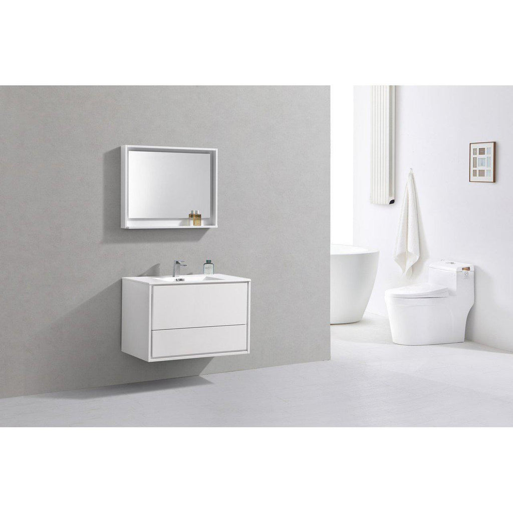 "KubeBath DeLusso 36"" High Glossy White Floating Vanity"