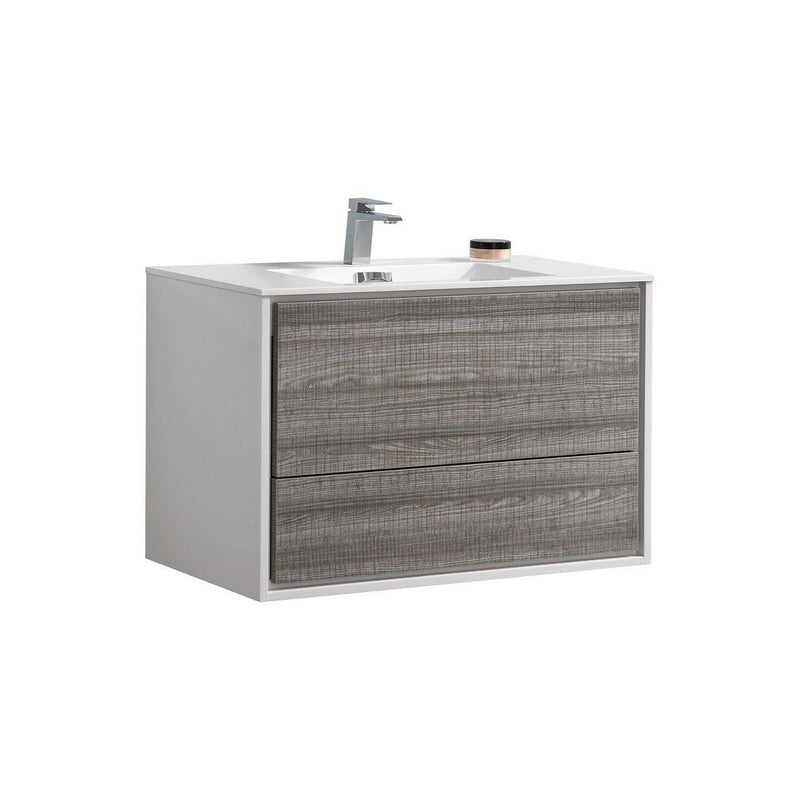 "KubeBath DeLusso 36"" Ash Gray Floating Vanity - The Modern Vanity"