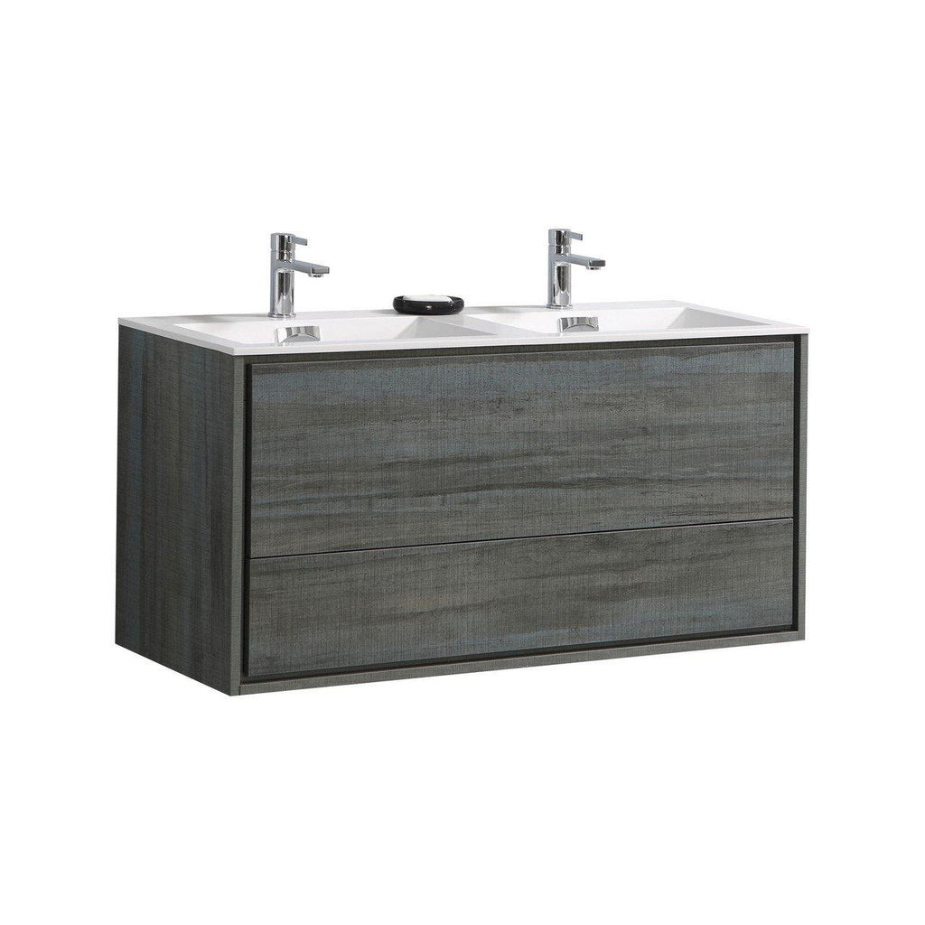 "KubeBath DeLusso 48"" Double Sink Ocean Gray Floating Vanity - The Modern Vanity"