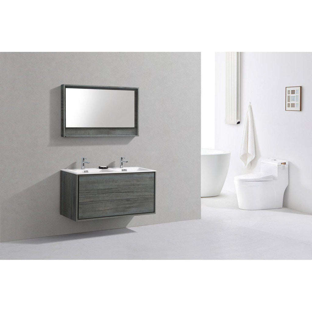 "KubeBath DeLusso 48"" Double Sink Ocean Gray Floating Vanity"