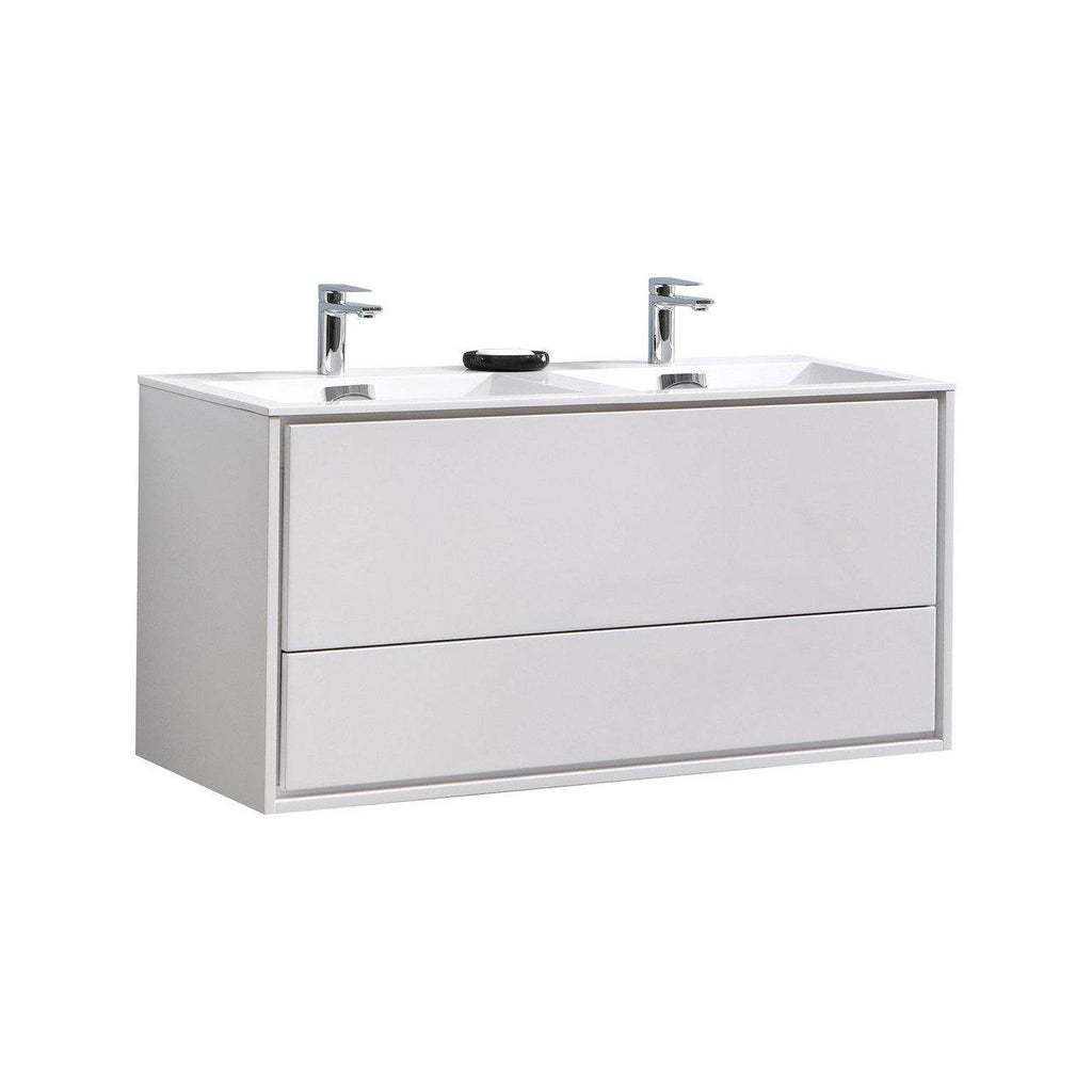"KubeBath DeLusso 48"" Double Sink High Glossy White Floating Vanity - The Modern Vanity"