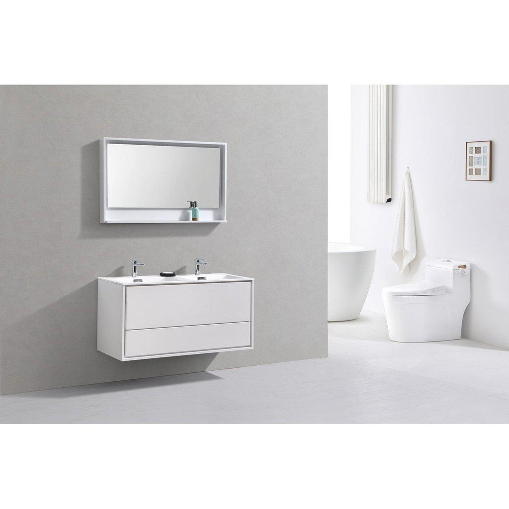 "KubeBath DeLusso 48"" Double Sink High Glossy White Floating Vanity"