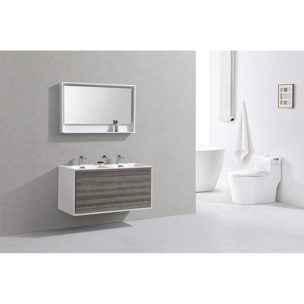 "KubeBath DeLusso 48"" Double Sink Ash Gray Floating Vanity"