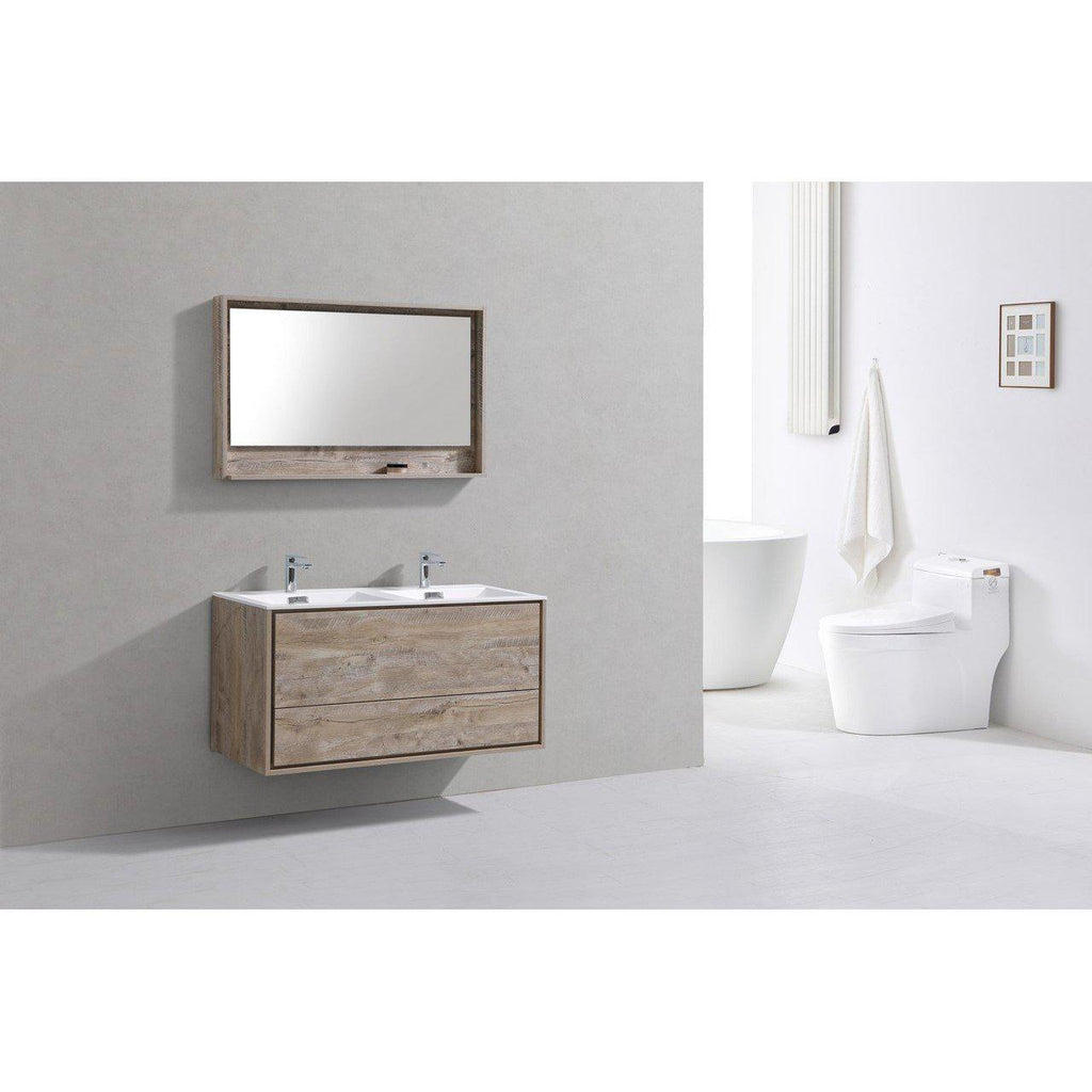 "KubeBath DeLusso 48"" Double Sink Nature Wood Floating Vanity"