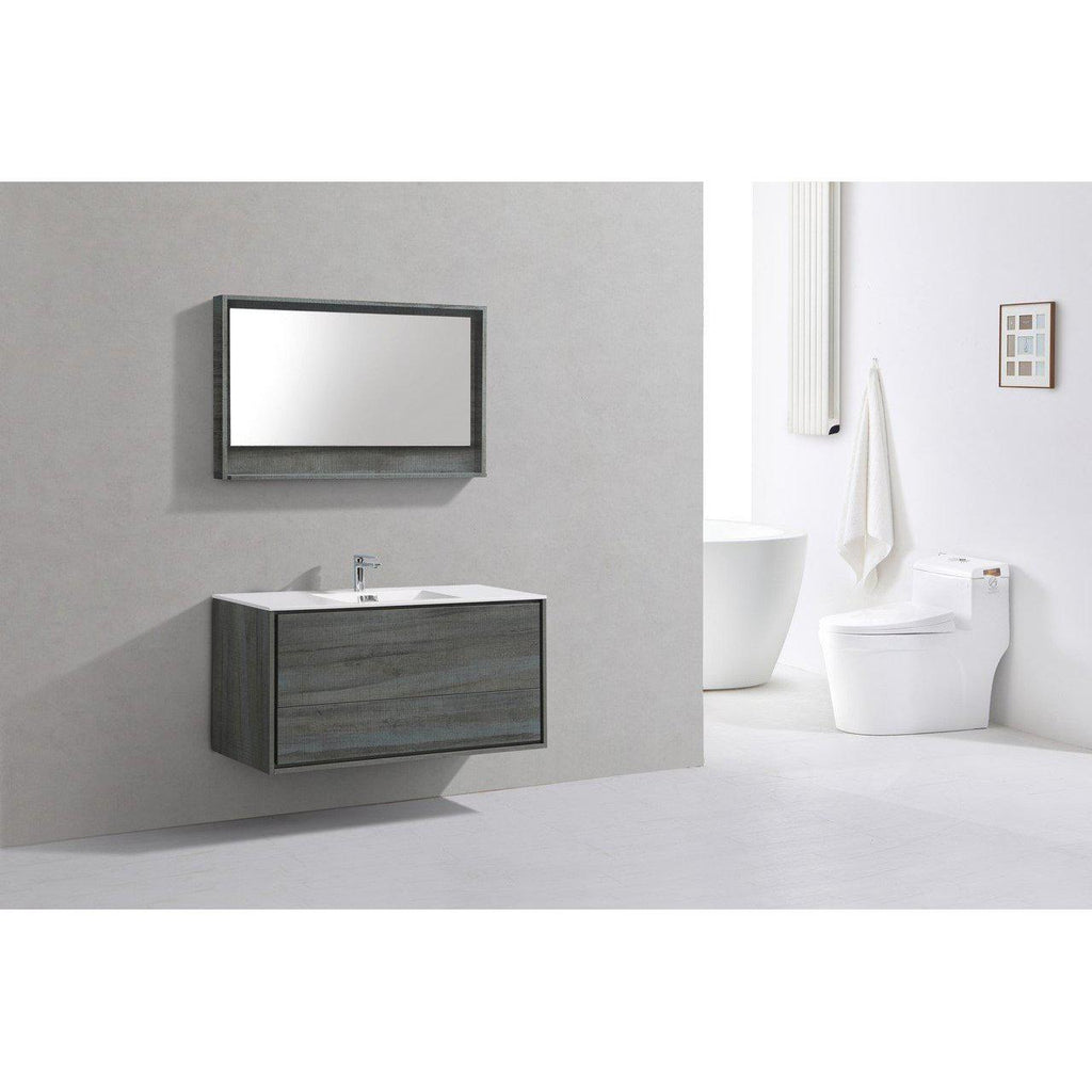 "KubeBath DeLusso 48"" Single Sink Ocean Gray Floating Vanity"