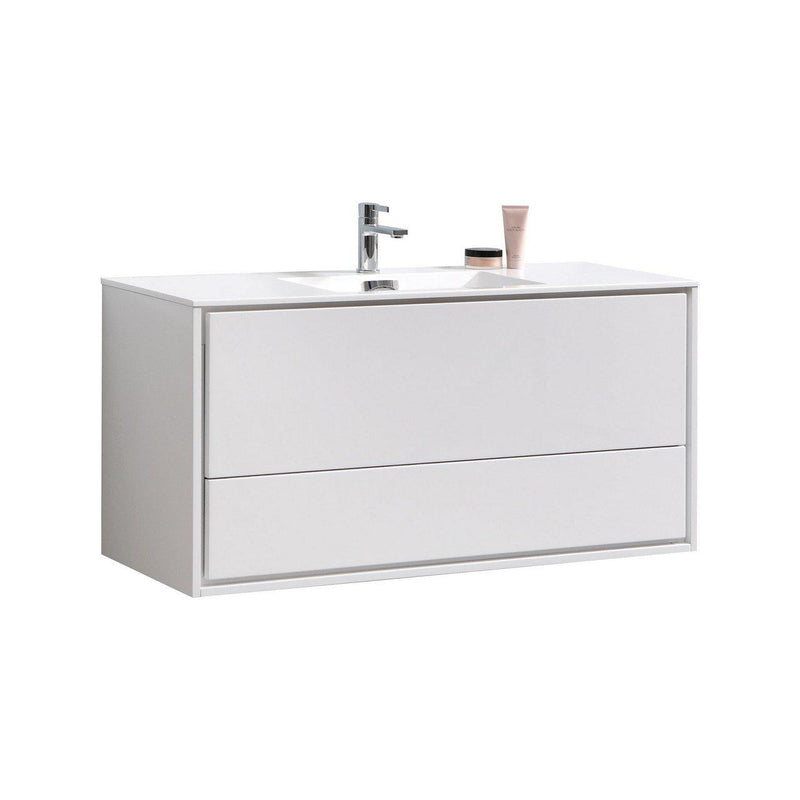 "KubeBath Bliss 48"" High Gloss Gray Oak Floating Vanity"