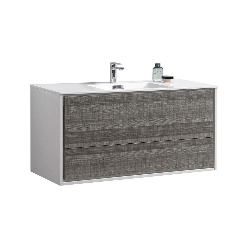 "KubeBath DeLusso 48"" Single Sink Ash Gray Floating Vanity - The Modern Vanity"
