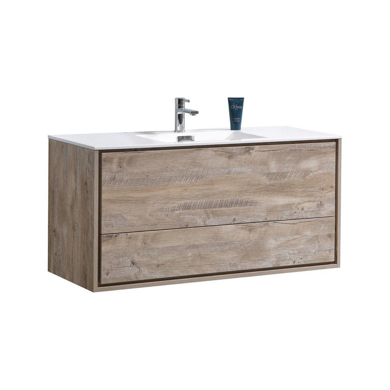 "KubeBath DeLusso 48"" Single Sink Nature Wood Floating Vanity - The Modern Vanity"