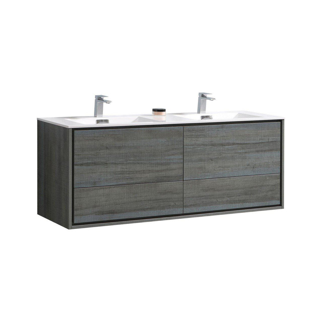 "KubeBath DeLusso 60"" Double Sink Ocean Gray Floating Vanity - The Modern Vanity"