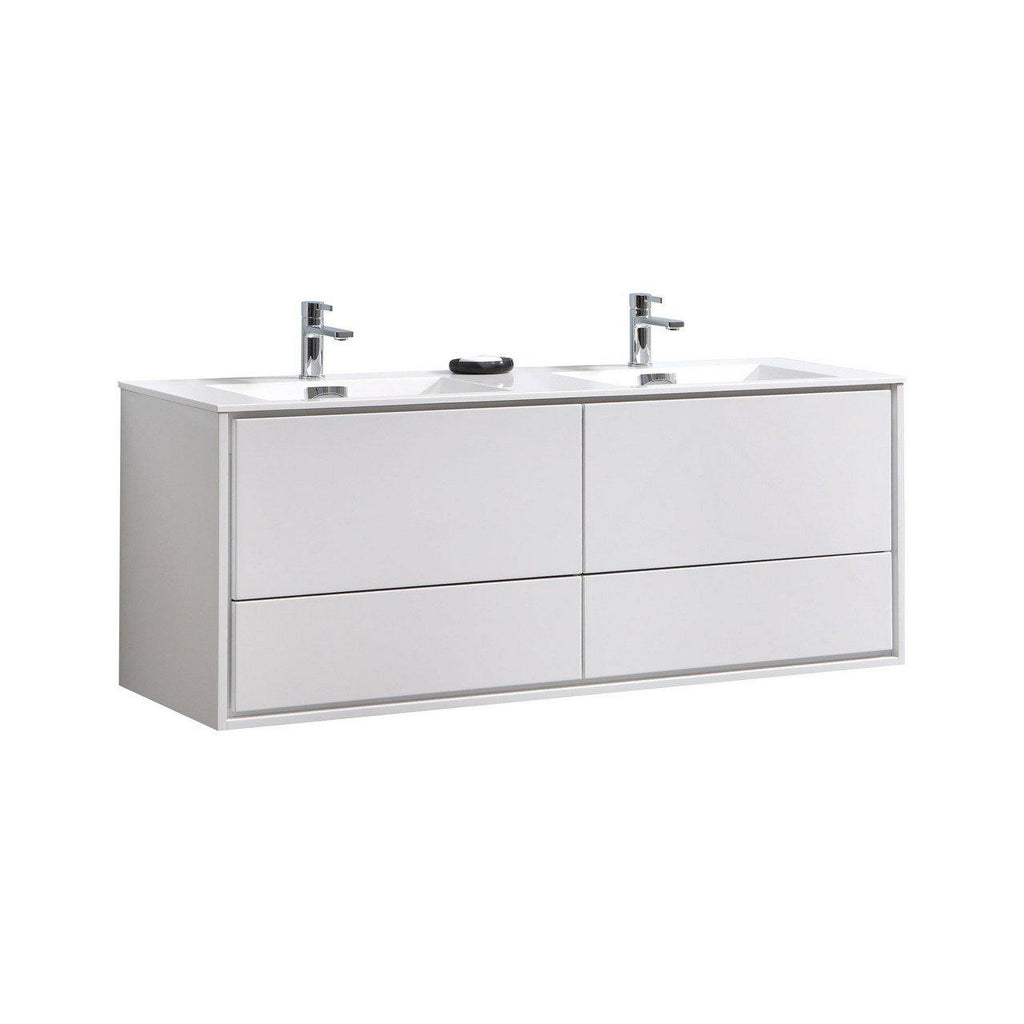 "KubeBath DeLusso 60"" Double Sink High Glossy White Floating Vanity - The Modern Vanity"