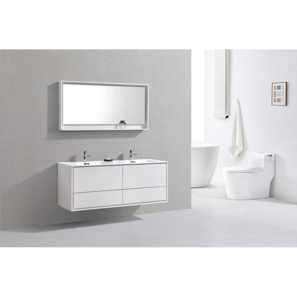 "KubeBath DeLusso 60"" Double Sink High Glossy White Floating Vanity"