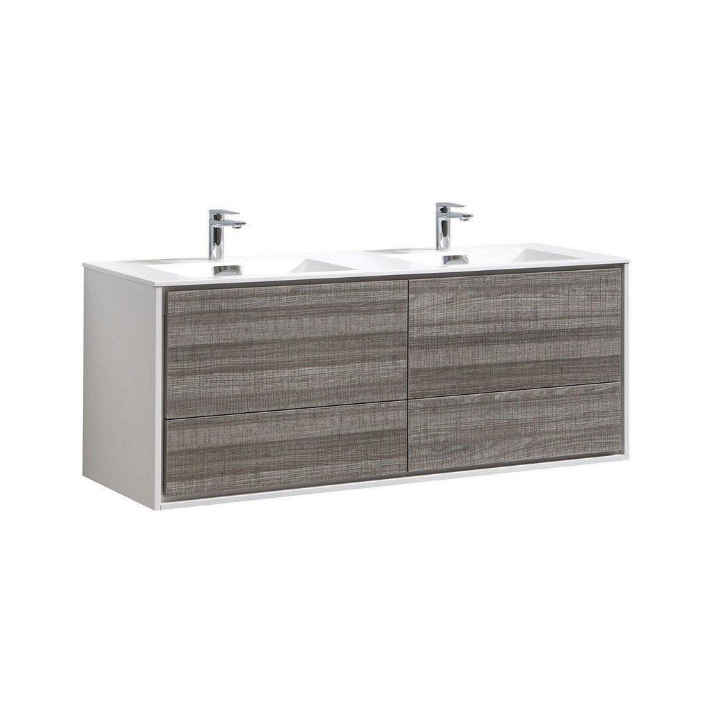 "KubeBath DeLusso 60"" Double Sink Ash Gray Floating Vanity - The Modern Vanity"