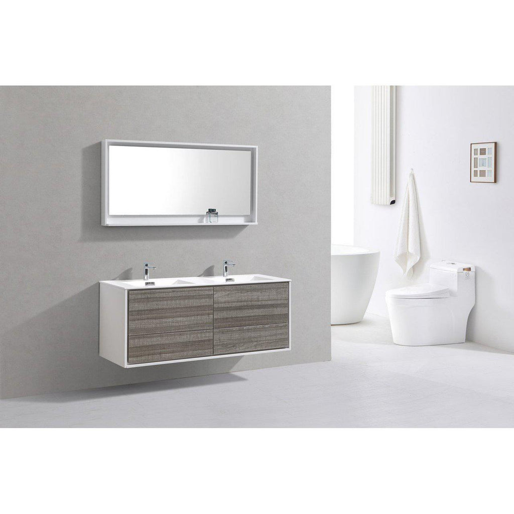 "KubeBath DeLusso 60"" Double Sink Ash Gray Floating Vanity"