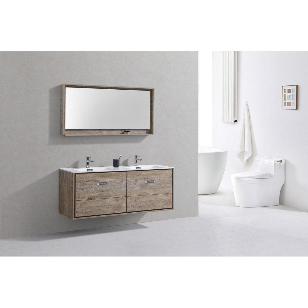 "KubeBath DeLusso 60"" Double Sink Nature Wood Floating Vanity"