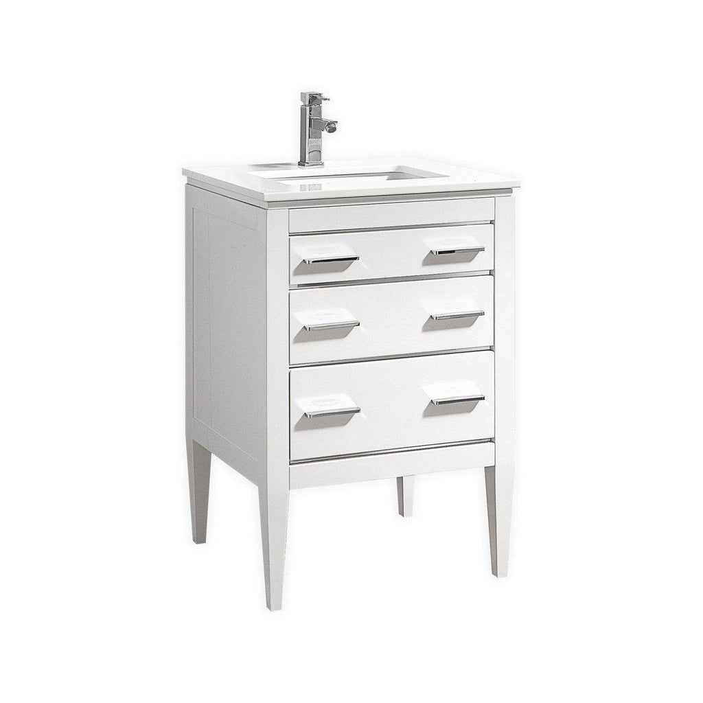 KubeBath Eiffel 24'' High Gloss White Vanity W/ Quartz Counter Top - The Modern Vanity