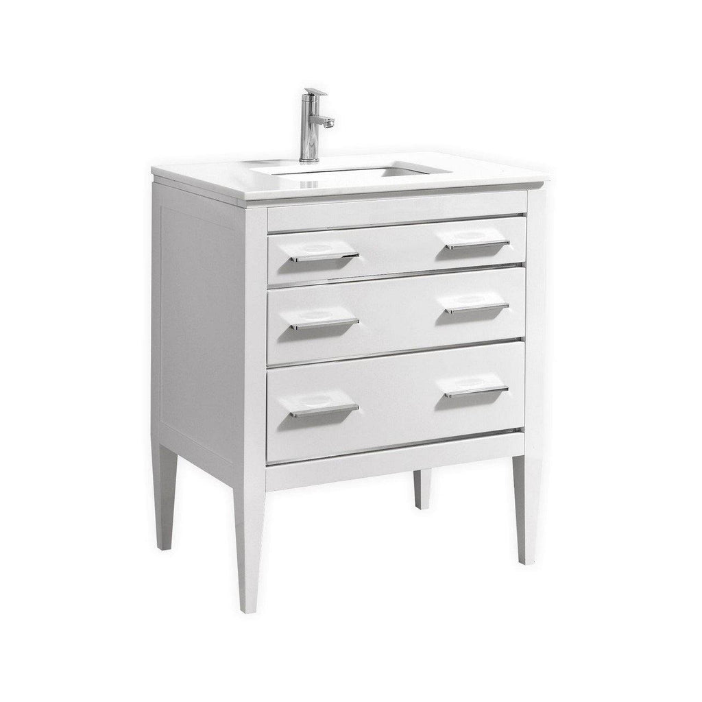 KubeBath Eiffel 30'' High Gloss White Vanity W/ Quartz Counter Top - The Modern Vanity