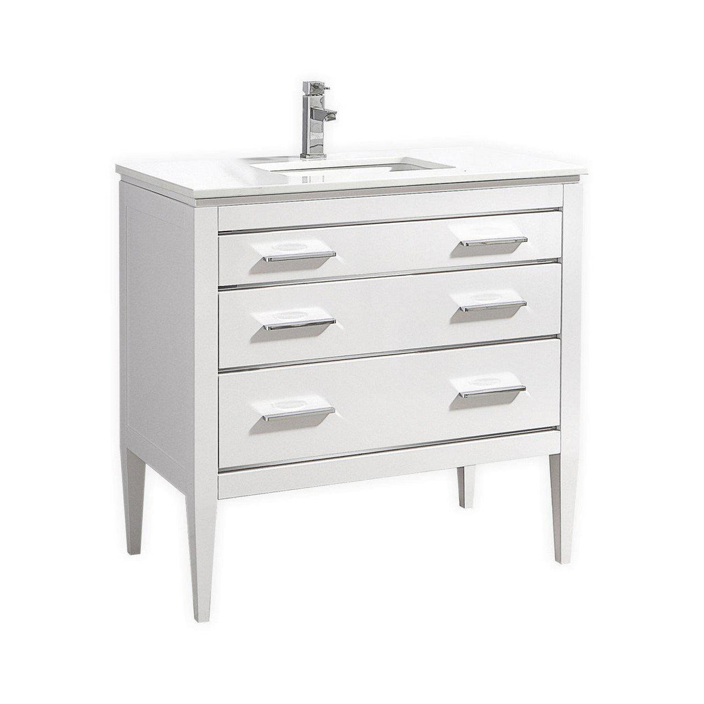 KubeBath Eiffel 36'' High Gloss White Vanity W/ Quartz Counter Top - The Modern Vanity