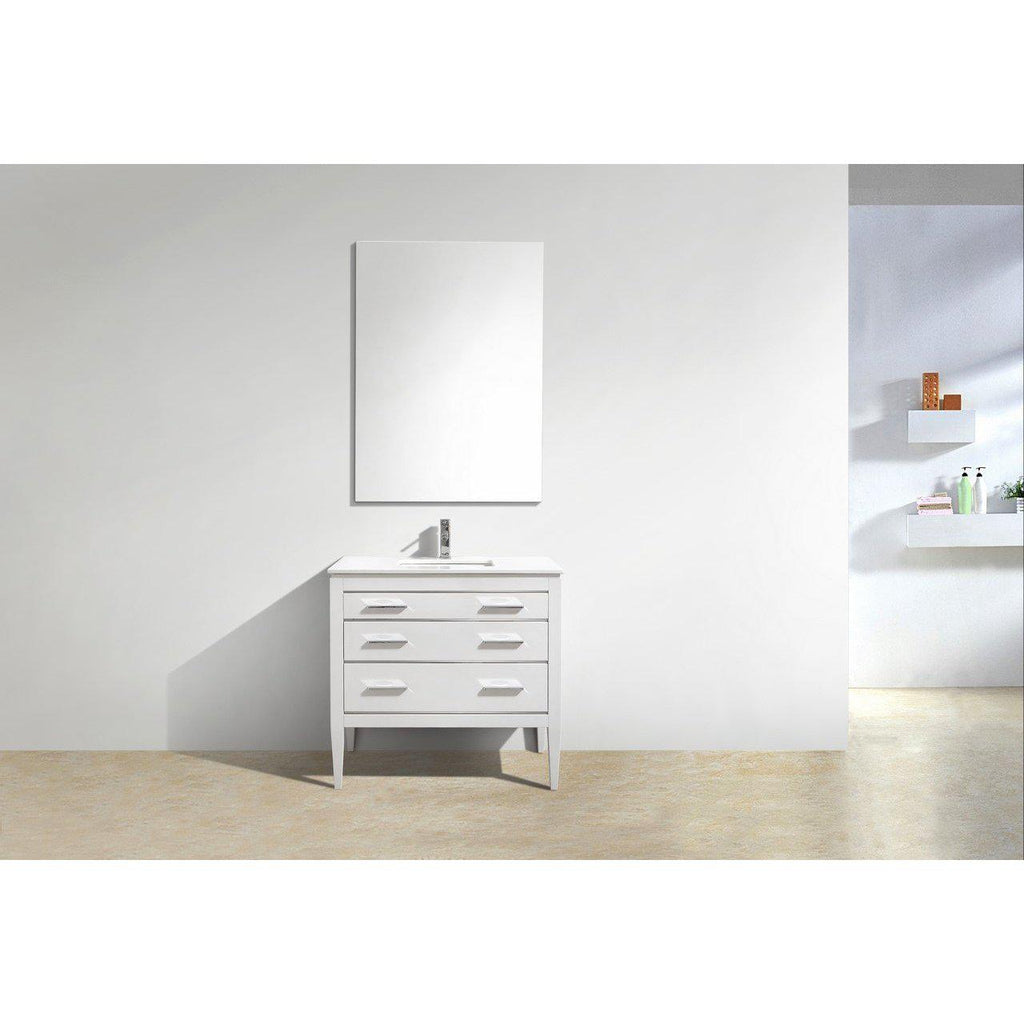KubeBath Eiffel 36'' High Gloss White Vanity W/ Quartz Counter Top