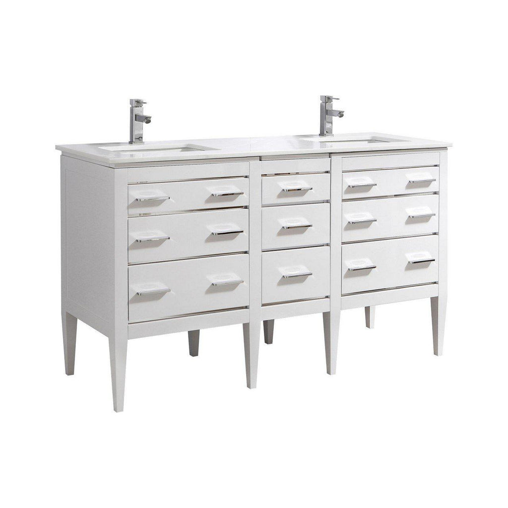 KubeBath Eiffel 60'' Double Sink High Gloss White Vanity W/ Quartz Counter Top - The Modern Vanity