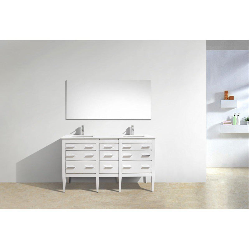 KubeBath Eiffel 60'' Double Sink High Gloss White Vanity W/ Quartz Counter Top