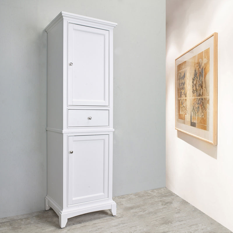 "Eviva Elite Stamford 24"" White Solid Wood Side/Linen Bathroom Cabinet"