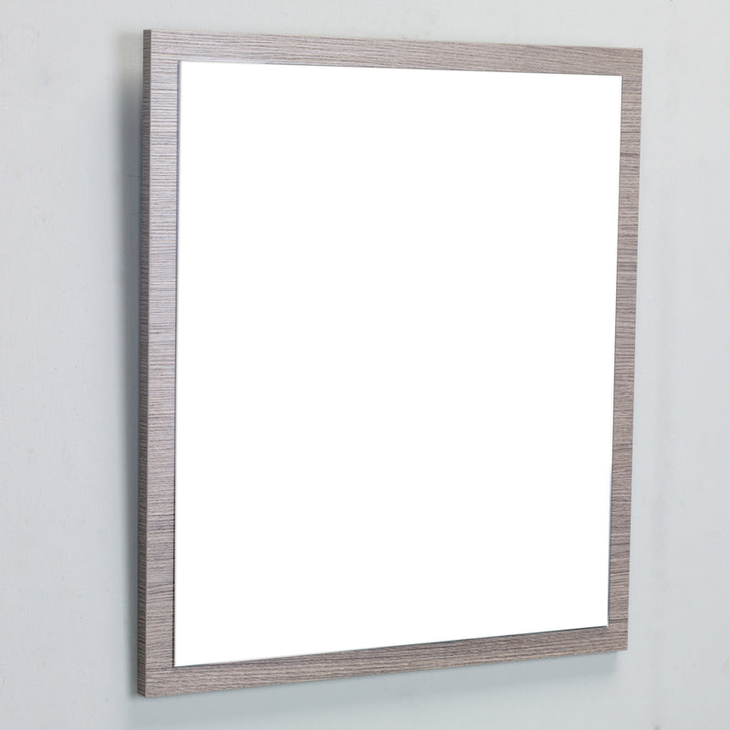 "Eviva Reflection 31.5"" Medium Oak Full Framed Bathroom Wall Mirror"