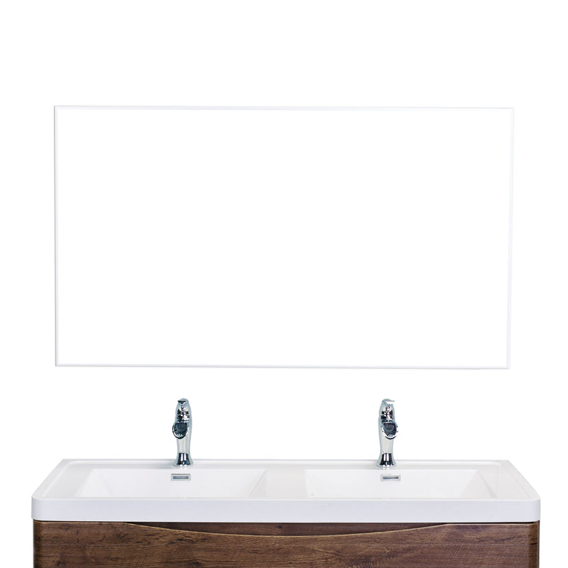 "Eviva Sax 60"" Brushed Metal Frame Bathroom Wall Mirror"