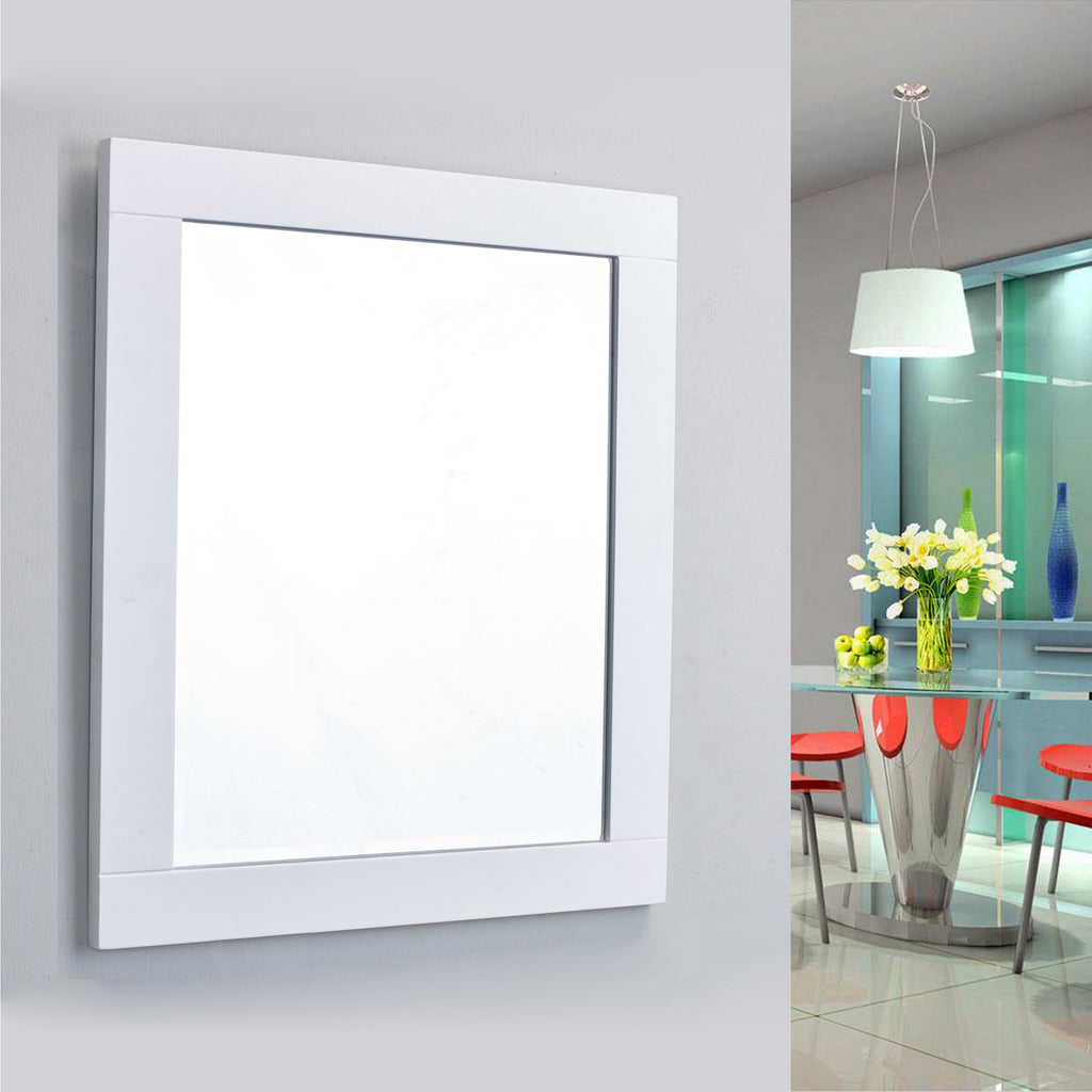 "Eviva Aberdeen 36"" White Framed Bathroom Wall Mirror"