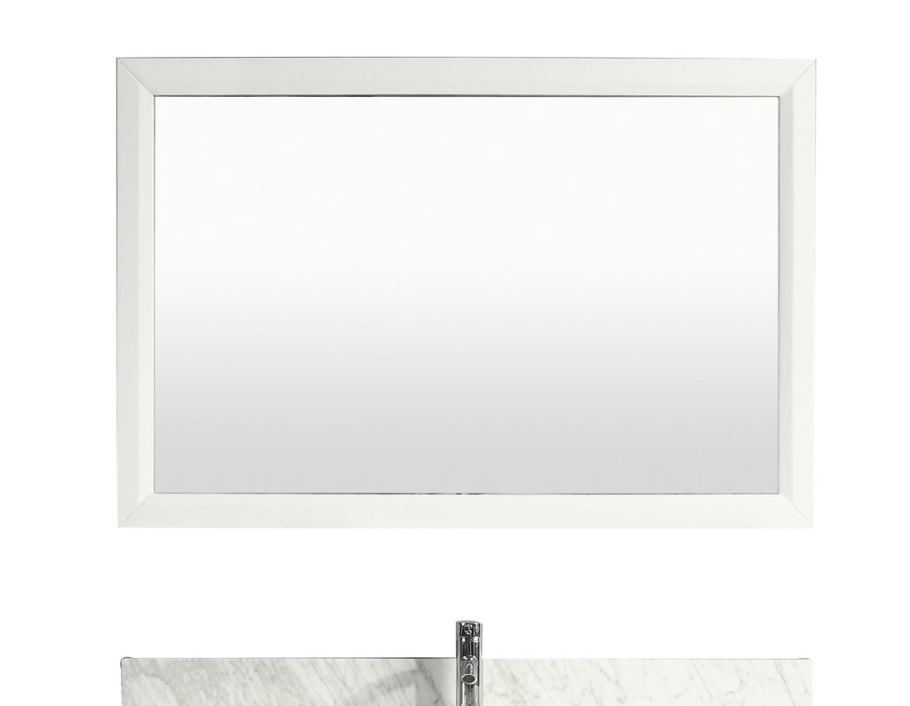 "Eviva Aberdeen 48"" White Framed Bathroom Wall Mirror"