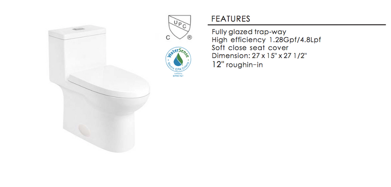 Eviva Standy Elongated Cotton White One Piece Toilet with Soft Closing Seat Cover, High efficiency, Water Sense & CUPC certified with the united states plumbing standards