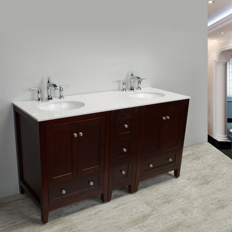 "Eviva Lime 72"" Double Sink Bathroom Vanity Teak(Dark Brown) with White Quartz Counter-Top"