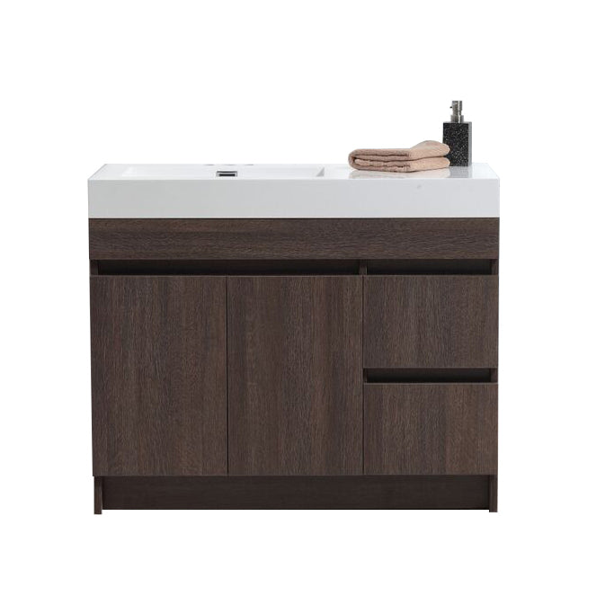 "Eviva Beach 39"" Grey Oak Modern Bathroom Vanity Set with Integrated White Acrylic Sink"
