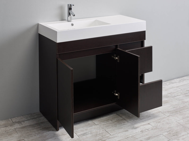 "Eviva Beach 39"" Wenge(Dark Brown) Modern Bathroom Vanity Set with Integrated White Acrylic Sink"