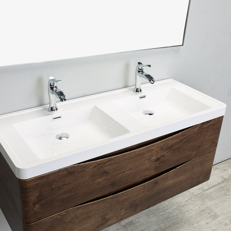 "Eviva Smile 48"" Rosewood Modern Bathroom Vanity Set with Integrated White Acrylic Double Sink Wall Mount"