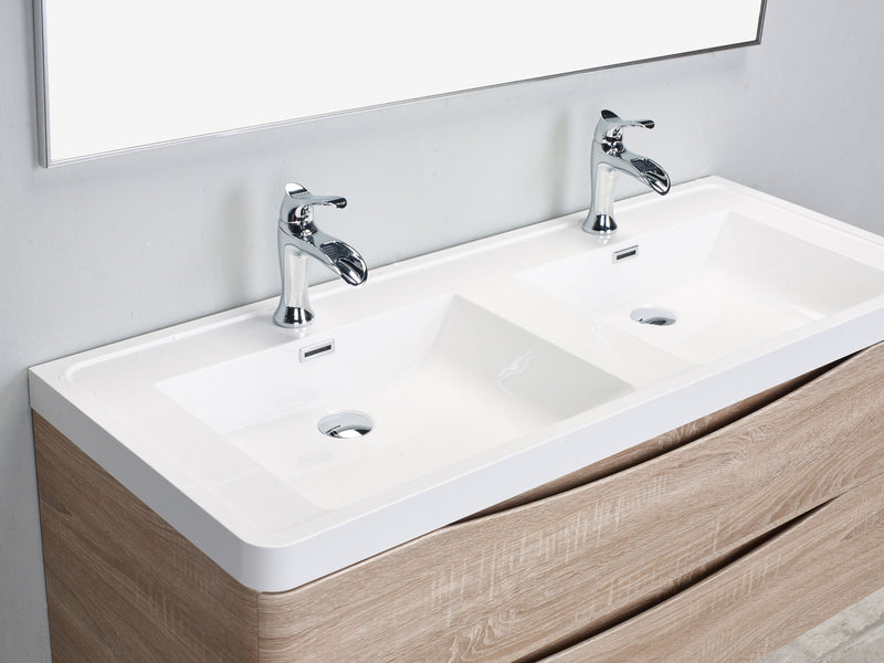 "Eviva Smile 48"" White Oak Modern Bathroom Vanity Set with Integrated White Acrylic Double Sink Wall Mount"