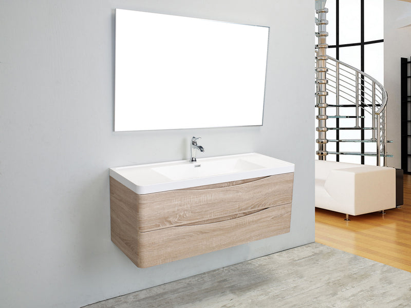 "Eviva Smile 48"" White Oak Modern Bathroom Vanity Set with Integrated White Acrylic Single Sink Wall Mount"
