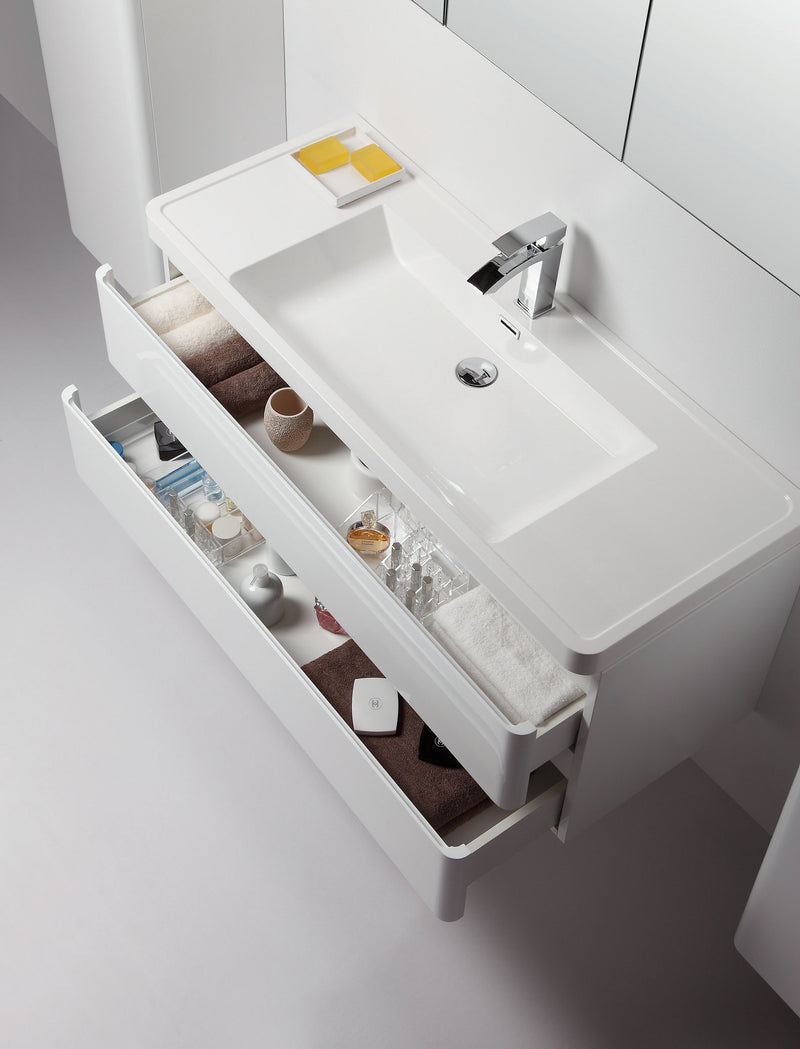 "Eviva Glazzy 48"" Wall Mount Modern Bathroom Vanity with Single Sink (High Glossy White)"