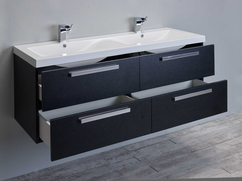 "Eviva Surf 57"" Wenge Modern Bathroom Vanity Set with Integrated White Acrylic Double Sink"