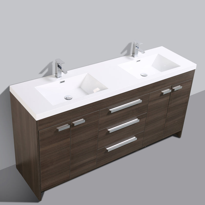 "Eviva Lugano 72"" Grey Oak Modern Bathroom Vanity with White Integrated Acrylic Double Sink"