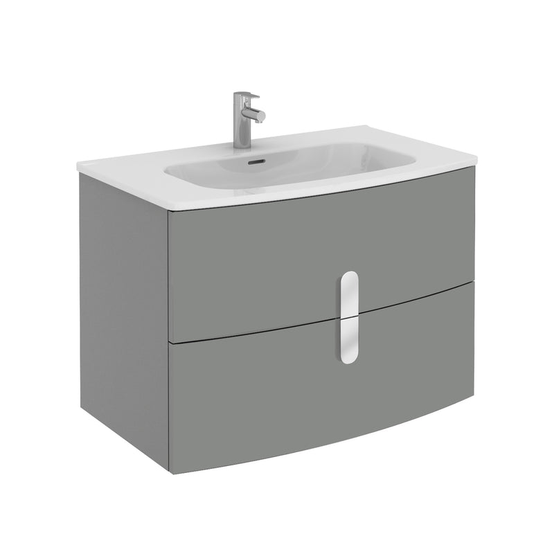 "Eviva Cali 31"" Wall Mount Grey Modern Bathroom Vanity with White Integrated Porcelain Sink"