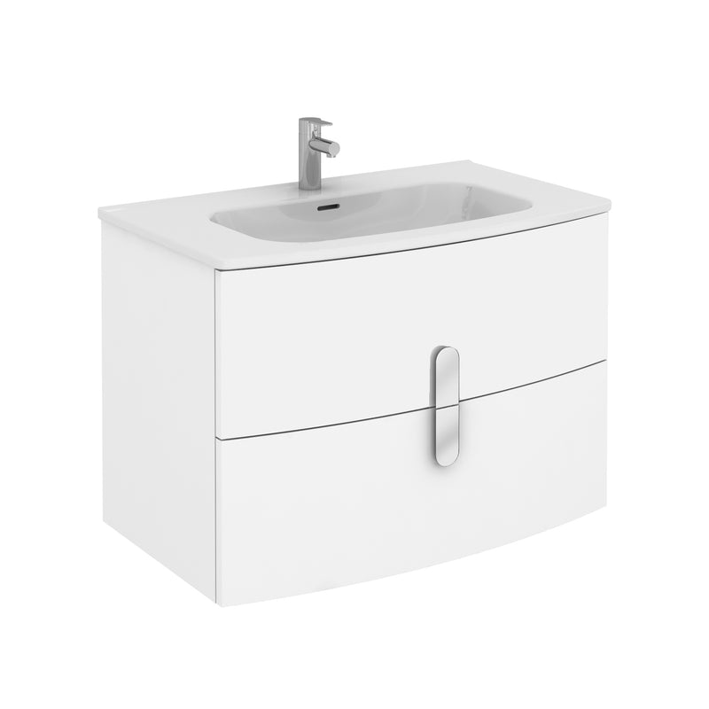 "Eviva Cali 31"" Wall Mount White Modern Bathroom Vanity with White Integrated Porcelain Sink"