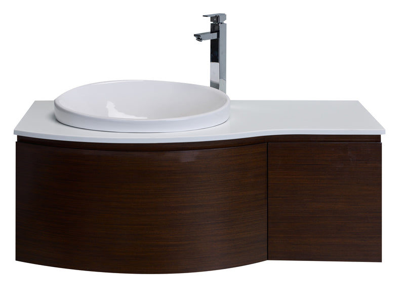 "Eviva Curvy 48"" Iron Wood Modern Bathroom Vanity, Wall Mount with Glassos Counter-top & Sink"