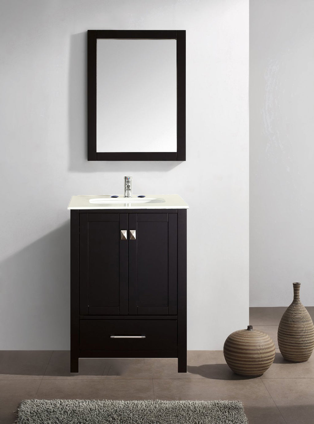"Eviva Aberdeen 24"" Transitional Espresso Bathroom Vanity with White Carrera Countertop"