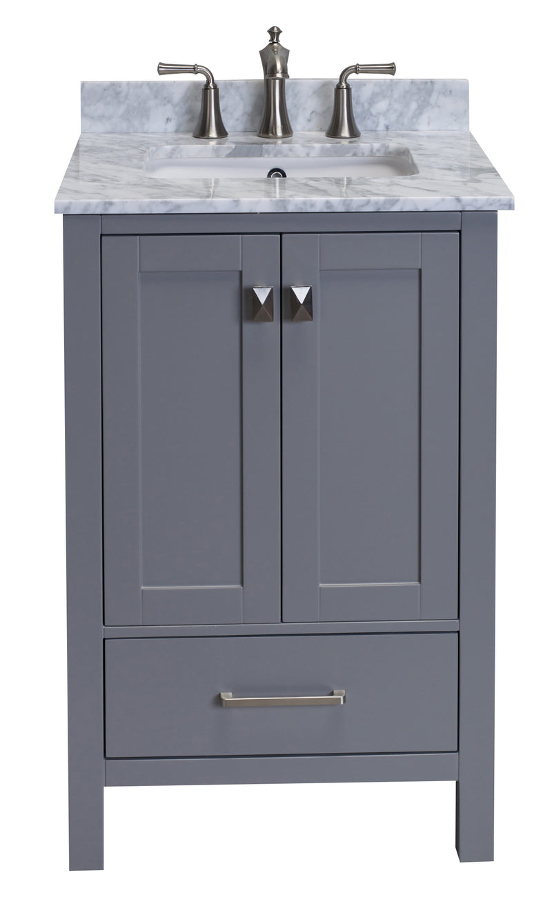 "Eviva Aberdeen 24"" Transitional Grey Bathroom Vanity with White Carrera Countertop"