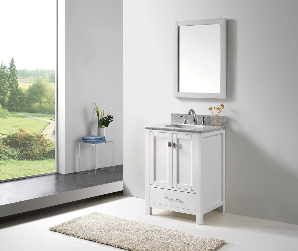 "Eviva Aberdeen 24"" Transitional White Bathroom Vanity with White Carrera Countertop"