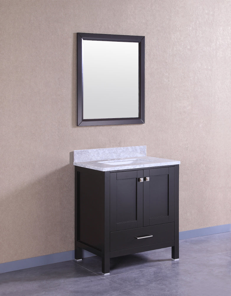 "Eviva Aberdeen 30"" Transitional Espresso Bathroom Vanity with White Carrera Countertop"