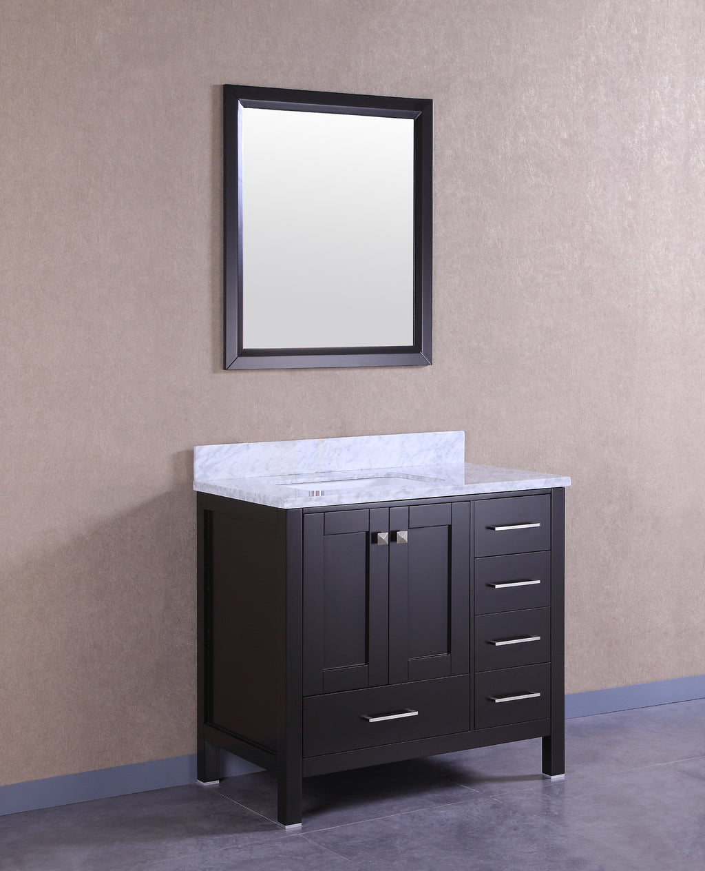 "Eviva Aberdeen 36"" Transitional Espresso Bathroom Vanity with White Carrera Countertop"