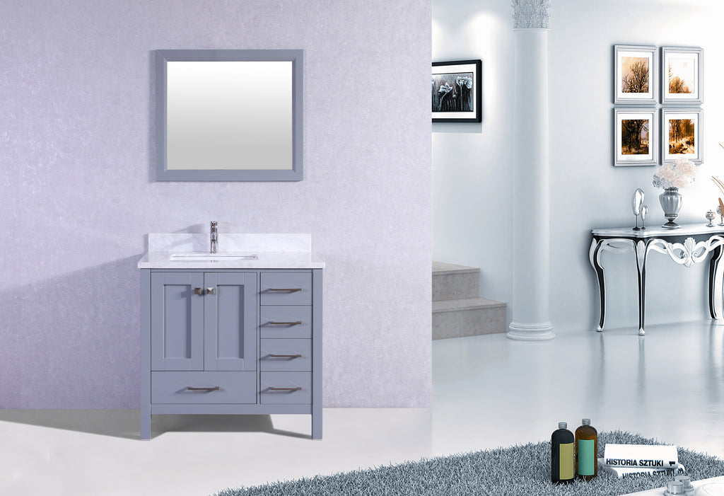 "Eviva Aberdeen 36"" Transitional Grey Bathroom Vanity with White Carrera Countertop &  Square Sink"