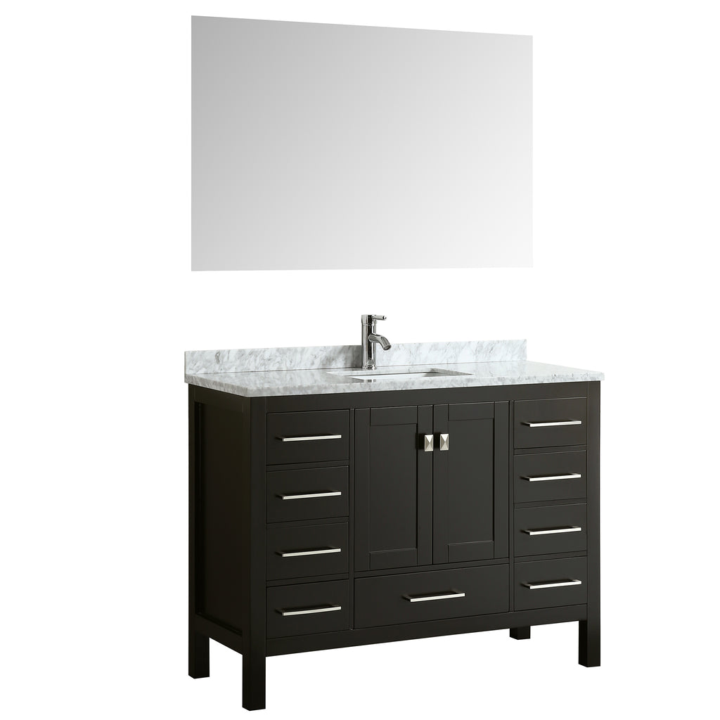 "Eviva Aberdeen 48"" Transitional Espresso Bathroom Vanity with White Carrera Countertop"